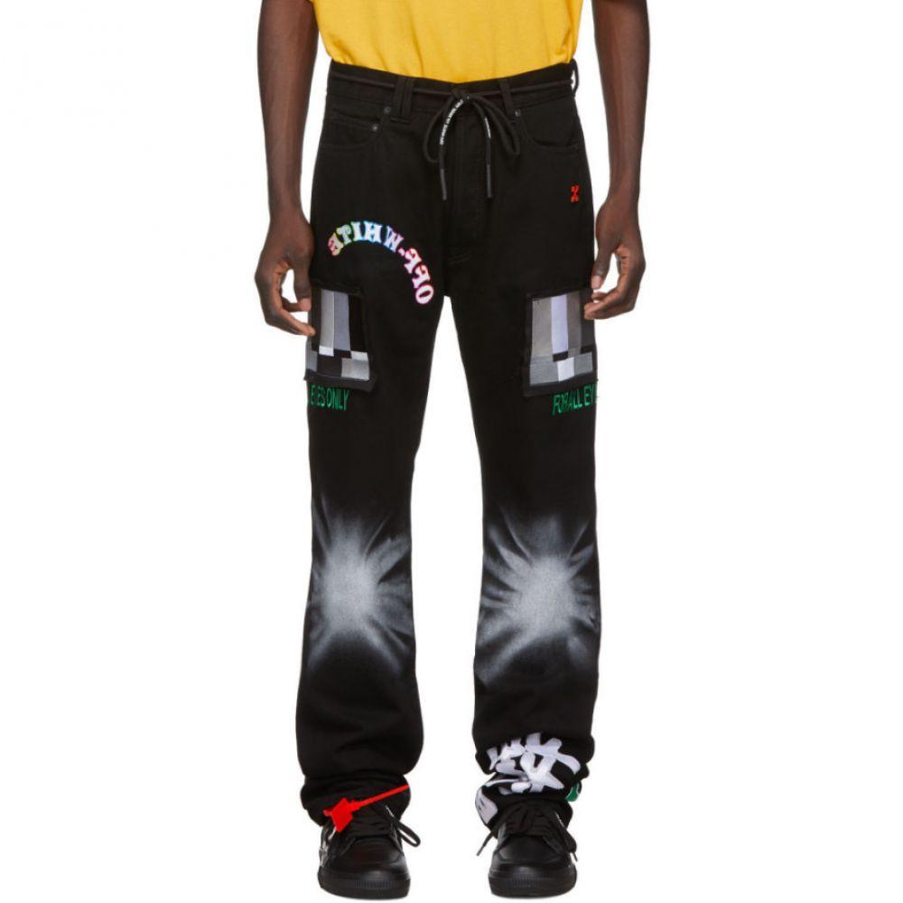 オフホワイト Off-White メンズ ジーンズ・デニム ボトムス・パンツ【Black Ev Bravado Relaxed Jeans】Black/Multicolor
