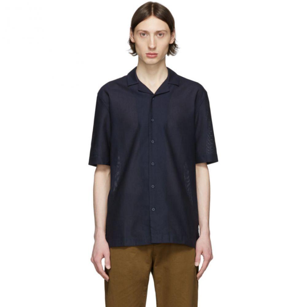 サンスペル Sunspel メンズ シャツ トップス【Navy Mesh Camp Collar Shirt】Navy