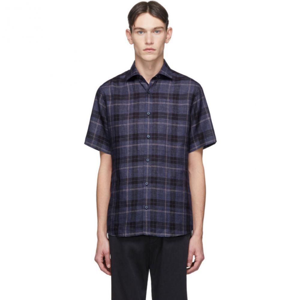 ジーゼニア Z Zegna メンズ シャツ トップス【Blue Linen Plaid Shirt】Blue