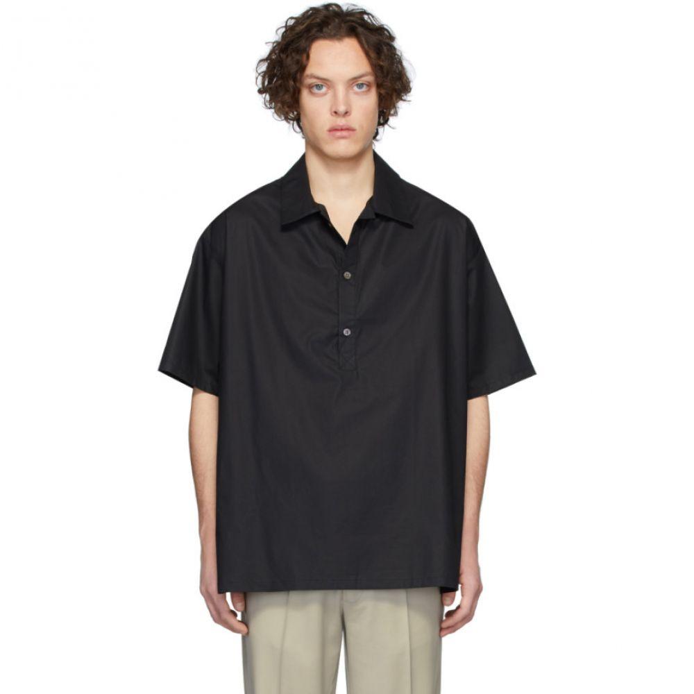 マーティン アスビヨルン Martin Asbjorn メンズ シャツ トップス【Black Poplin Greenleaf Shirt】Black