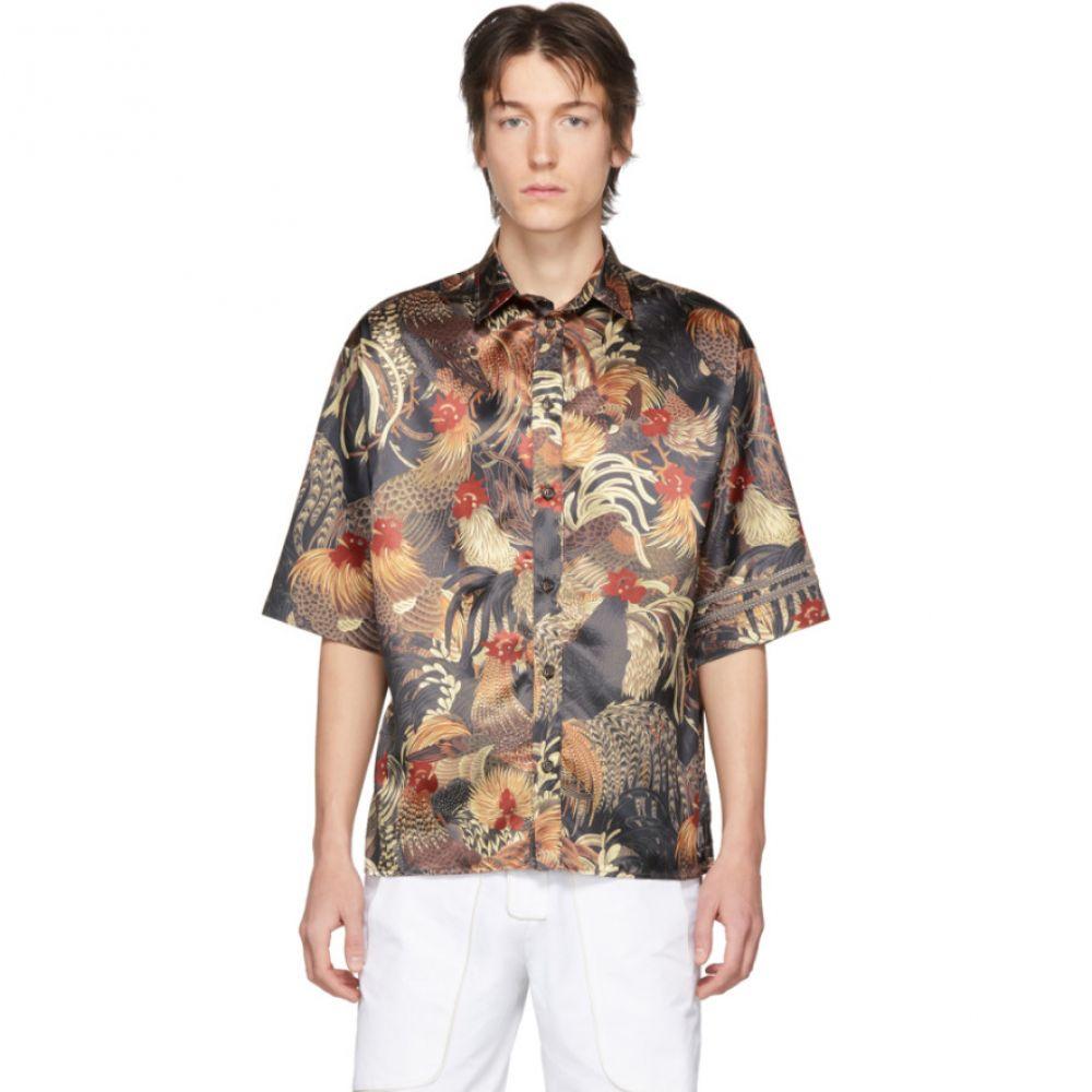 ボラミー ビジュアー Boramy Viguier メンズ 半袖シャツ トップス【Black Printed Short Sleeve Shirt】Print