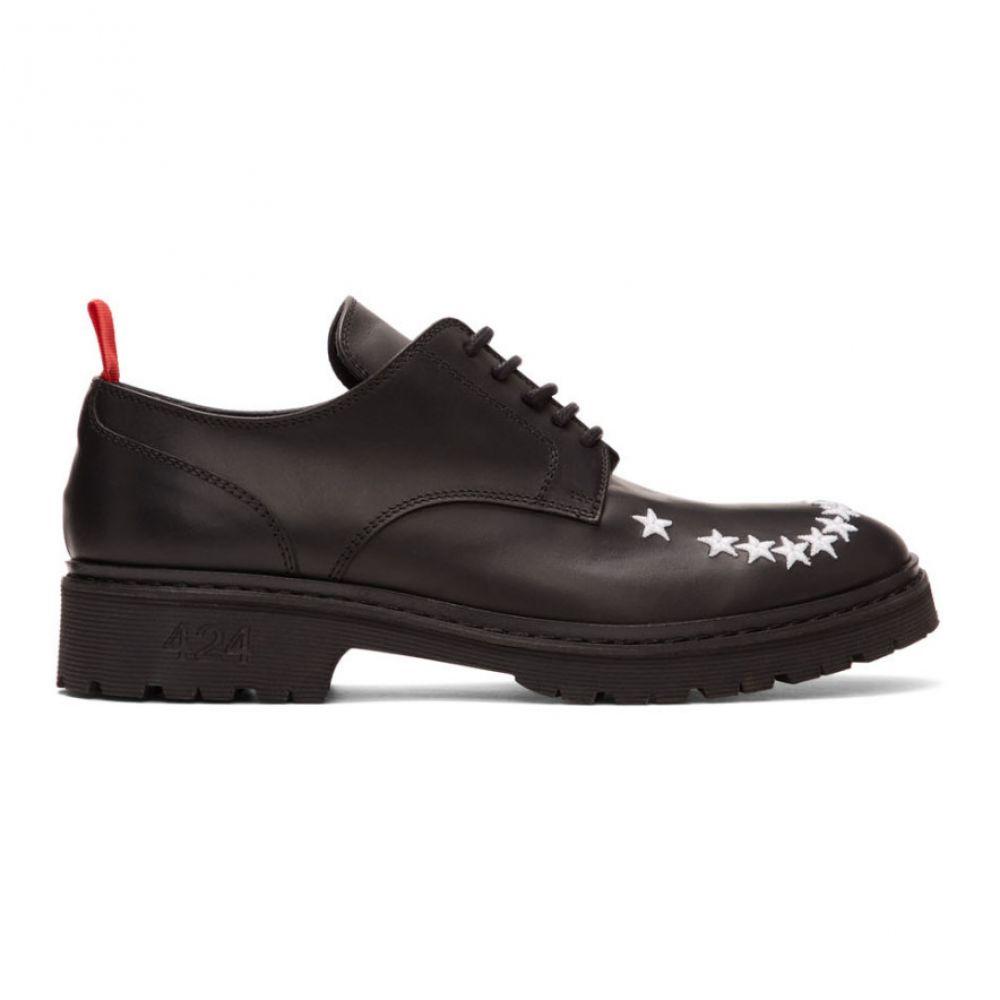 フォートゥーフォー 424 メンズ 革靴・ビジネスシューズ シューズ・靴【Black Embroidered Stars Derbys】Black
