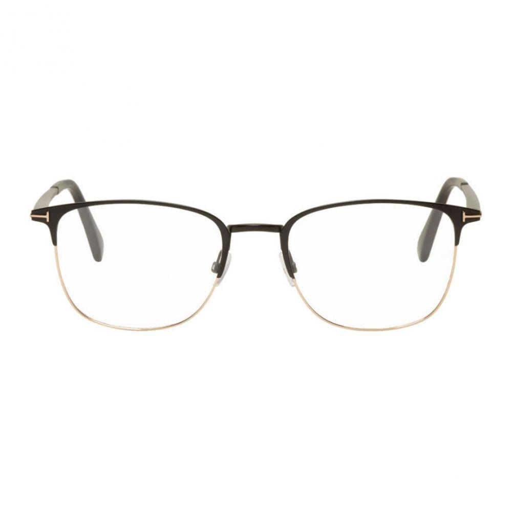 トム フォード Tom Ford メンズ メガネ・サングラス 【Black & Gold Square Glasses】Matte black