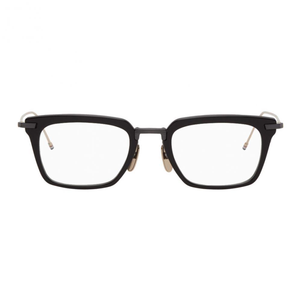 トム ブラウン Thom Browne メンズ メガネ・サングラス 【Black & Gold TBX916 Glasses】Black iron