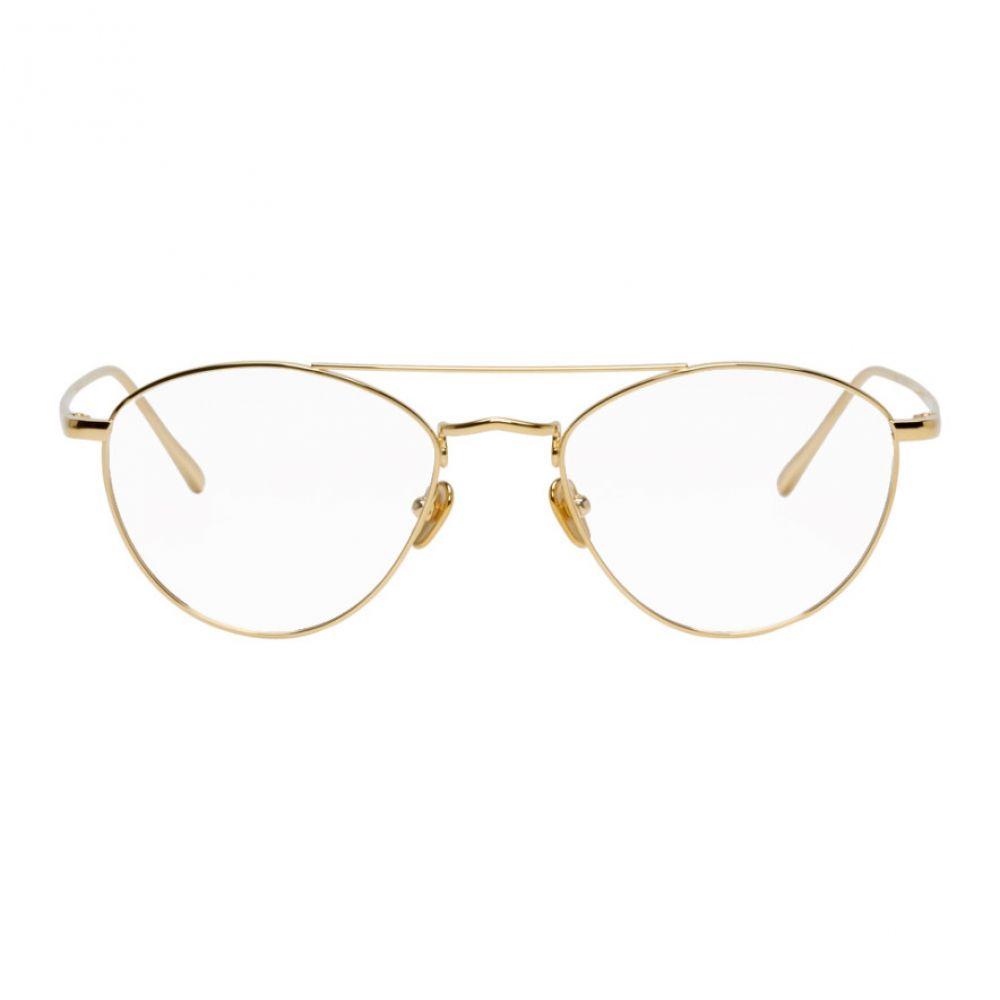 リンダ ファロー Linda Farrow Luxe メンズ メガネ・サングラス 【Gold Caine C8 Glasses】Yellow gold