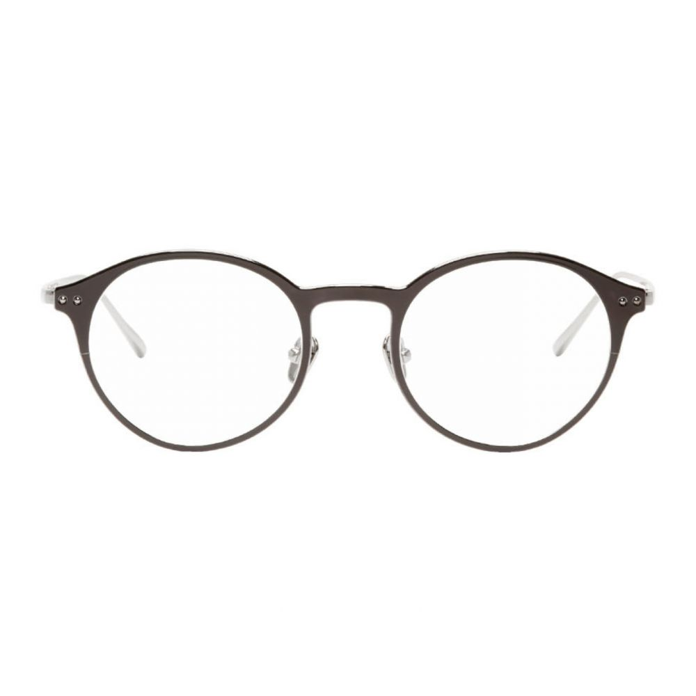 リンダ ファロー Linda Farrow Luxe メンズ メガネ・サングラス 【Black & Silver Lee Glasses】White gold/Black