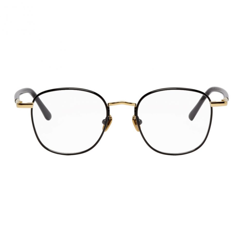 リンダ ファロー Linda Farrow Luxe メンズ メガネ・サングラス 【Black & Gold Trouper C8 Glasses】Yellow gold