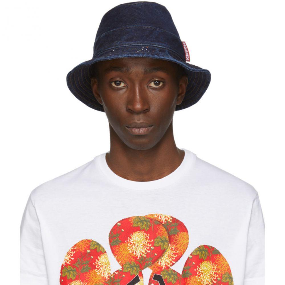 ディースクエアード Dsquared2 メンズ ハット バケットハット 帽子【Navy Denim Bucket Hat】Blue