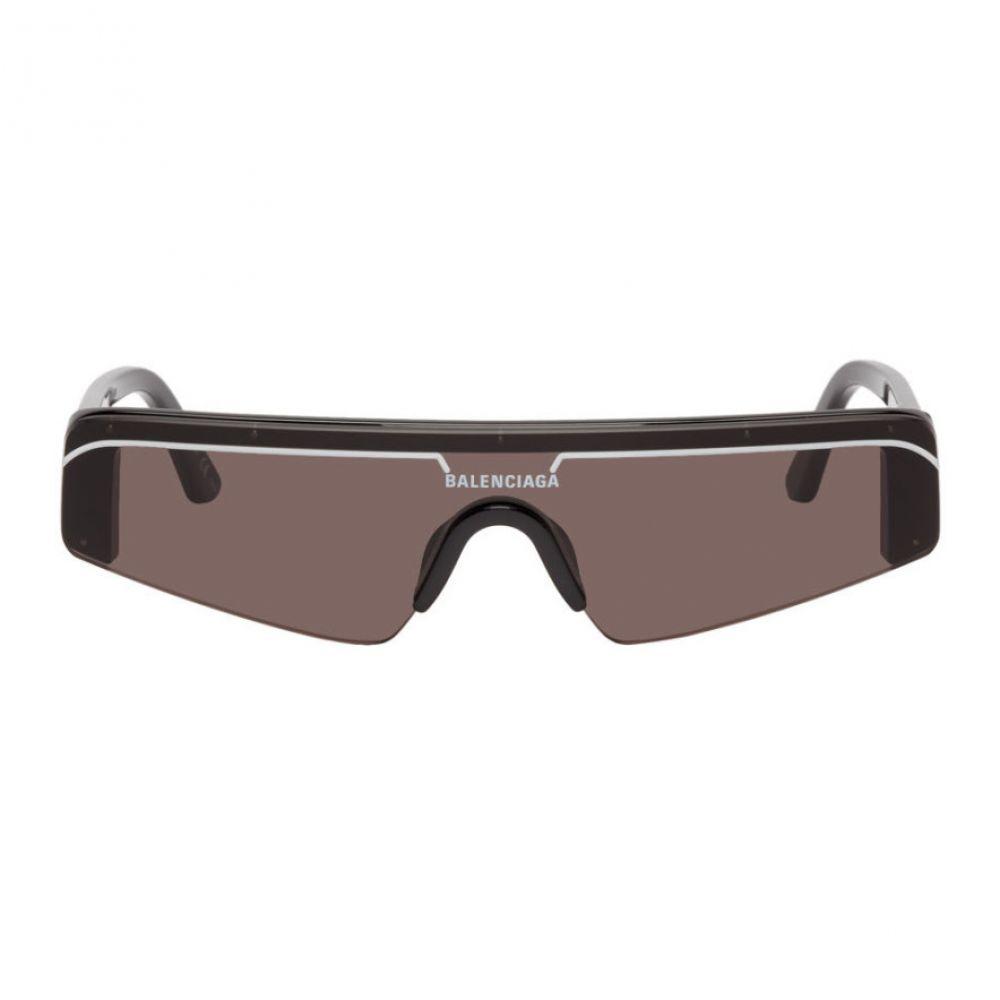 バレンシアガ Balenciaga メンズ メガネ・サングラス 【Black Skinny Rectangular Ski Sunglasses】Black/Grey