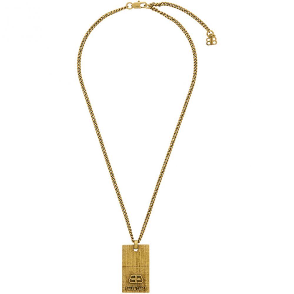 バレンシアガ Balenciaga メンズ ネックレス ジュエリー・アクセサリー【Gold BB Necklace】Antique gold