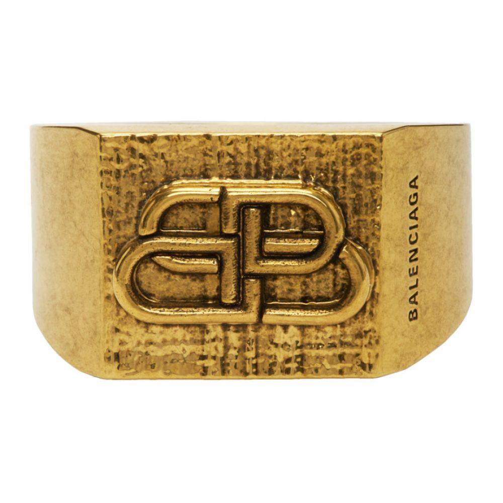 バレンシアガ Balenciaga メンズ 指輪・リング ジュエリー・アクセサリー【Gold BB Logo Ring】Antique gold