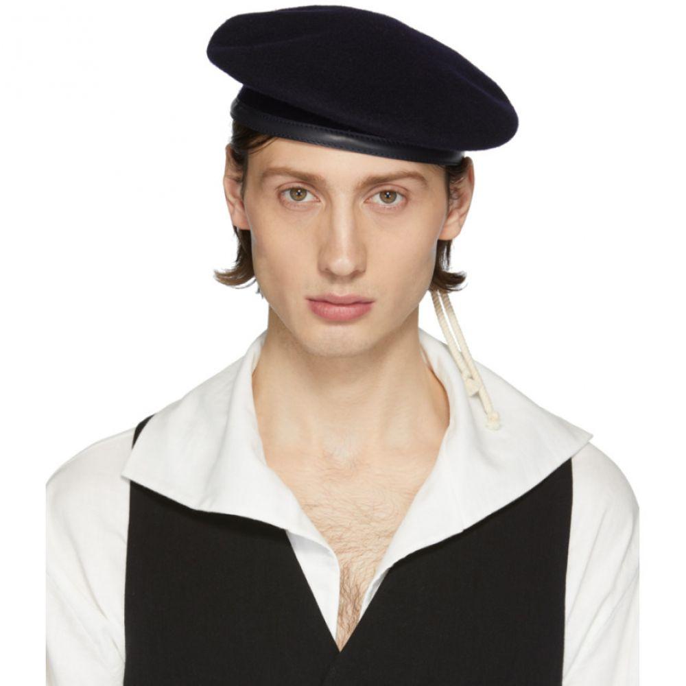 アンドゥムルメステール Ann Demeulemeester メンズ 帽子 ベレー帽【Navy Wool Bierra Beret】Navy