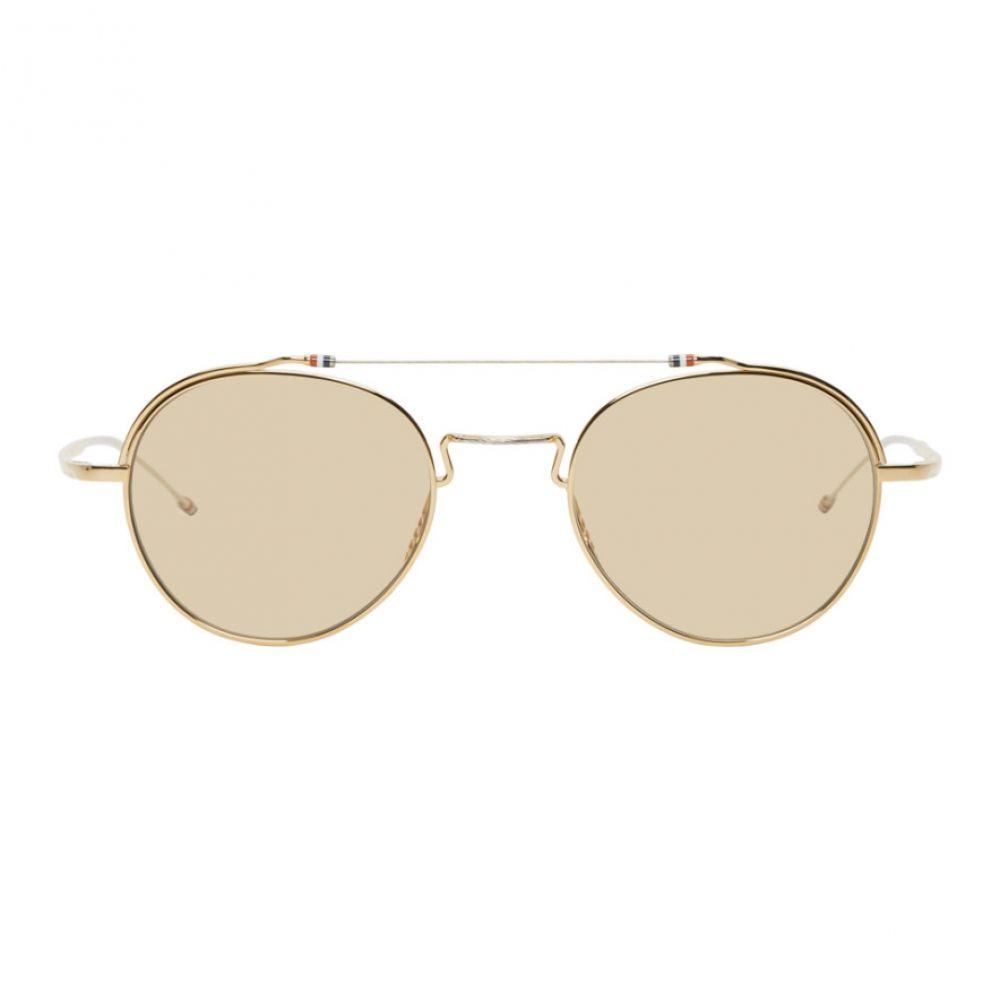 トム ブラウン Thom Browne メンズ メガネ・サングラス 【Gold TBX912 Sunglasses】White gold/Silver/Brown