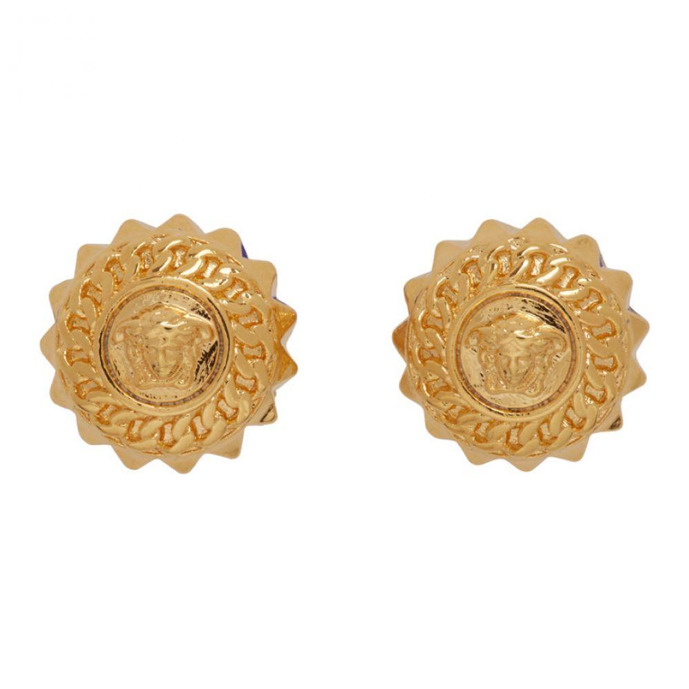 ヴェルサーチ Versace メンズ イヤリング・ピアス メデューサ ジュエリー・アクセサリー【Gold Medusa Chain Stud Earrings】Gold