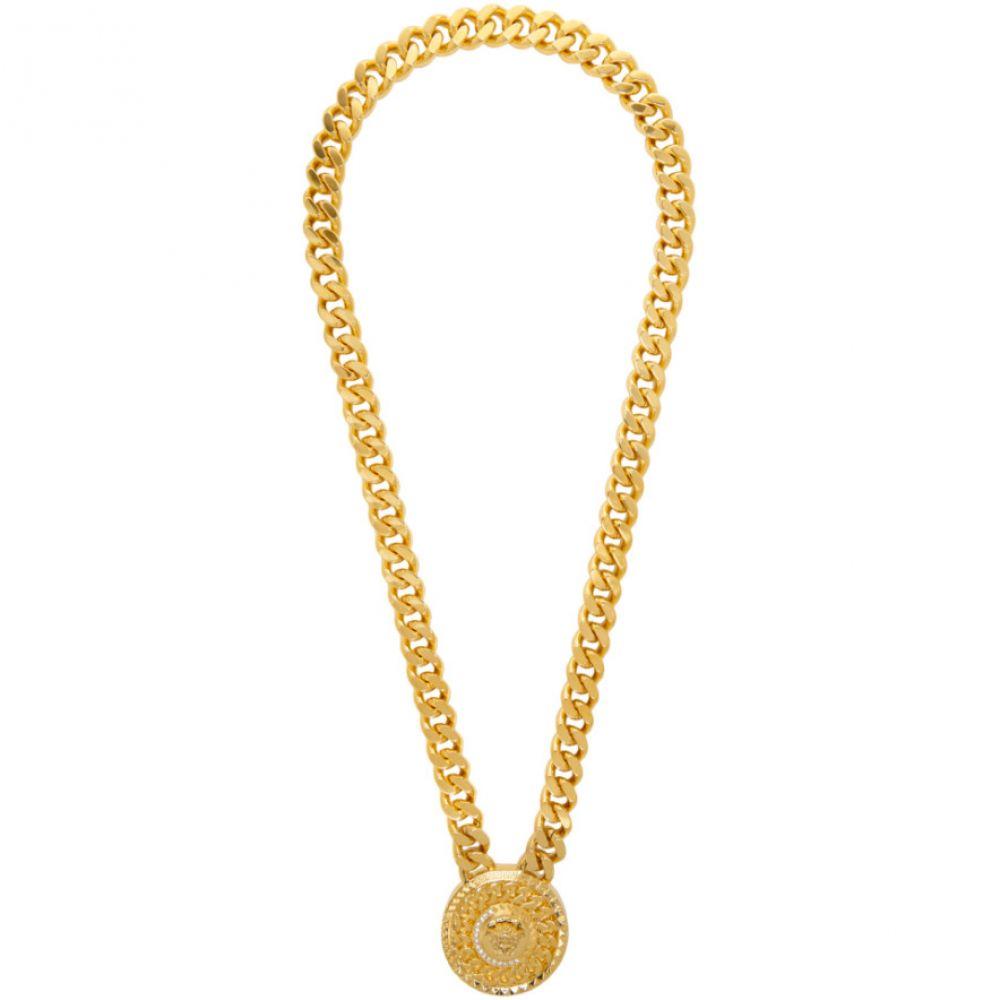 ヴェルサーチ Versace メンズ ネックレス メデューサ ジュエリー・アクセサリー【Gold Crystal Medusa Necklace】Gold