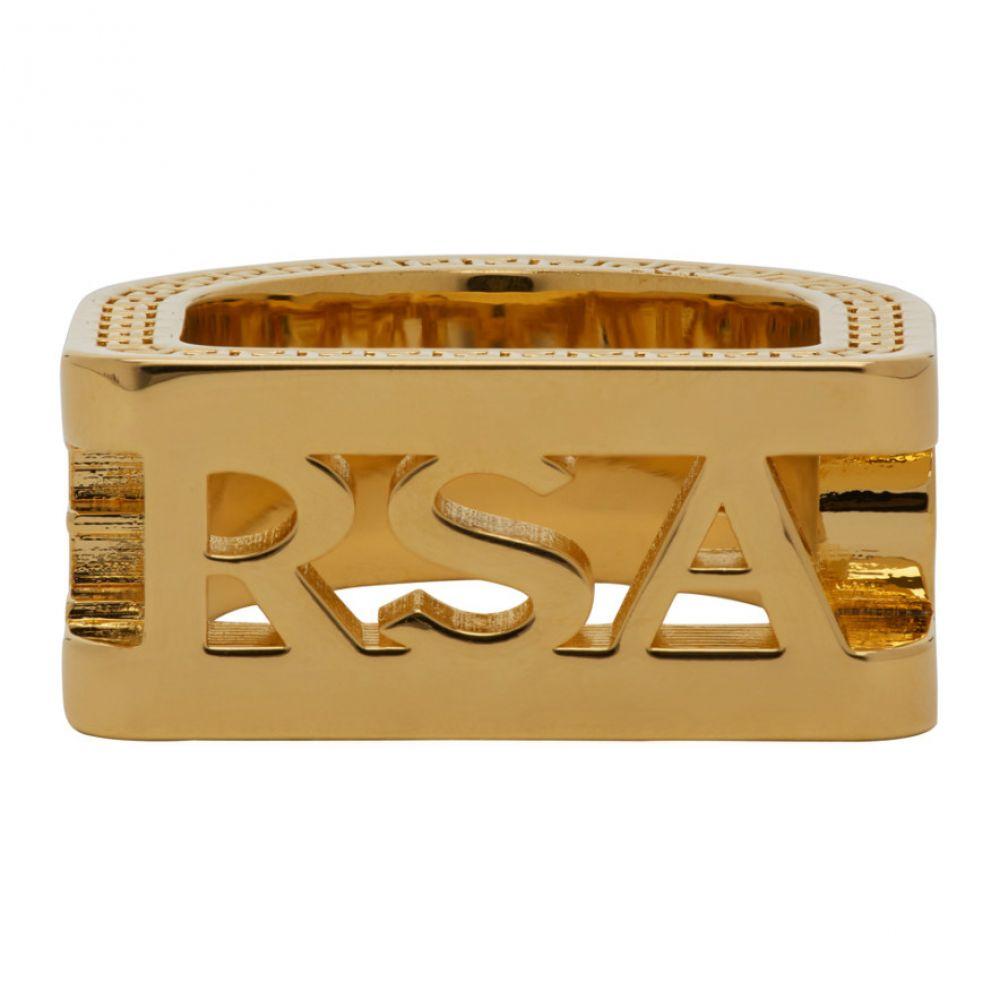 ヴェルサーチ Versace メンズ 指輪・リング ジュエリー・アクセサリー【Gold Cut-out Logo Ring】Warm gold