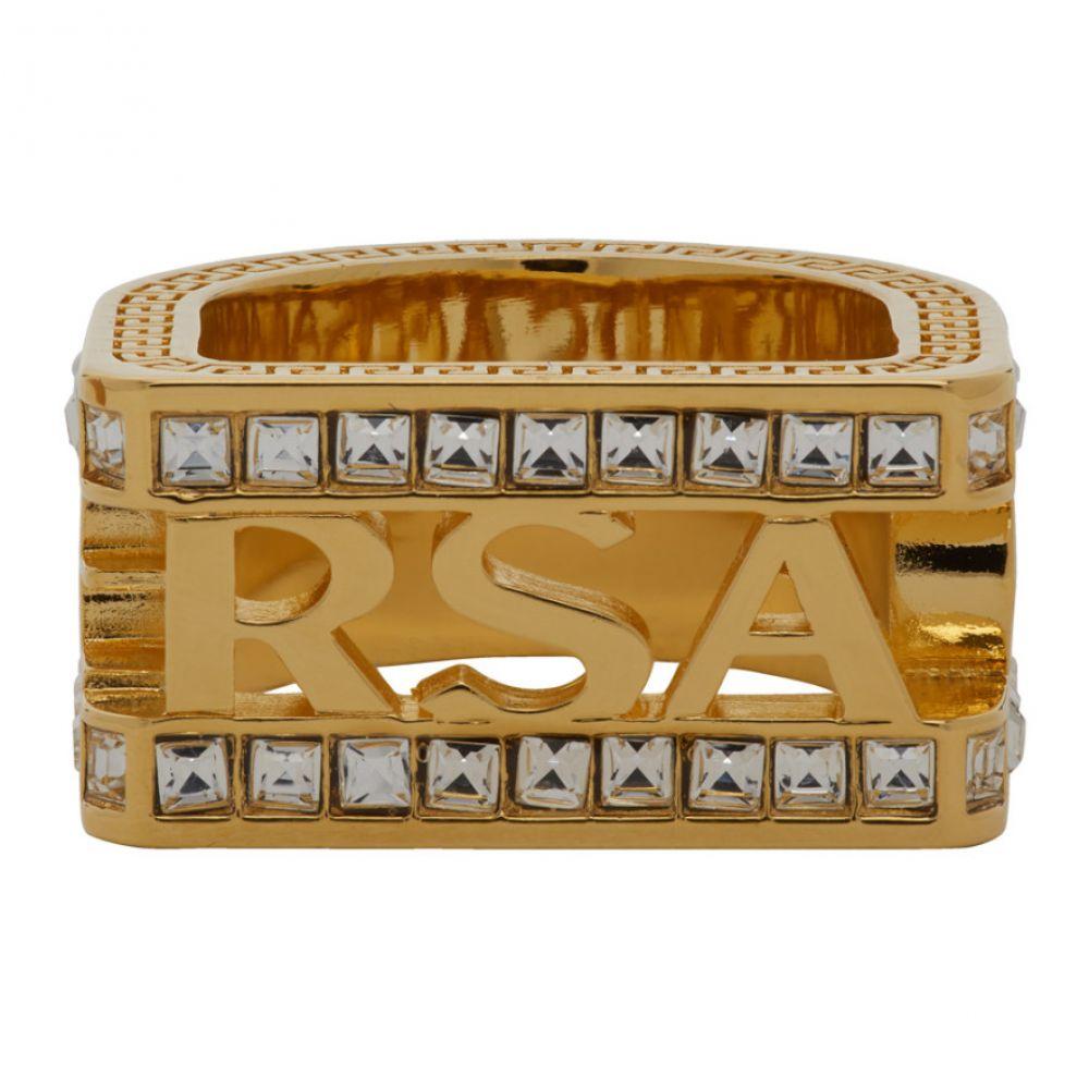 ヴェルサーチ Versace メンズ 指輪・リング ジュエリー・アクセサリー【Gold Crystal Cut-out Logo Ring】Warm gold