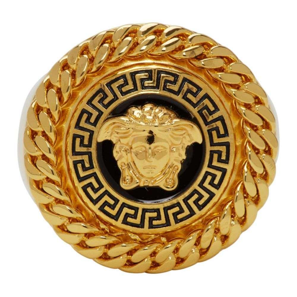 ヴェルサーチ Versace メンズ 指輪・リング メデューサ ジュエリー・アクセサリー【Gold & Black Enamel Medusa Ring】Black/Gold