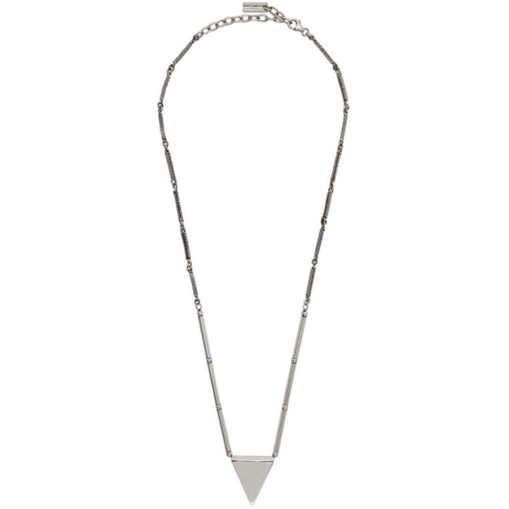 イヴ サンローラン Saint Laurent メンズ ネックレス ジュエリー・アクセサリー【Silver Leather Triangle Necklace】Argile noir