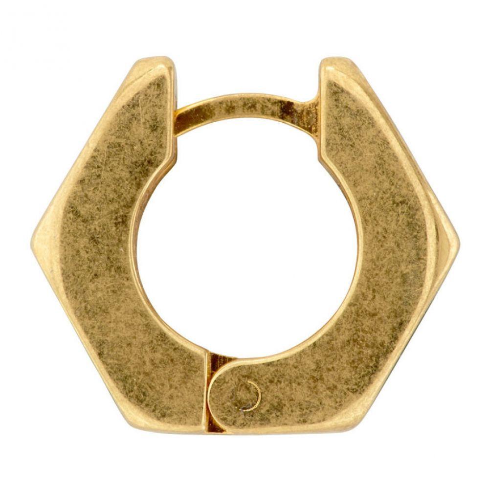 オフホワイト Off-White メンズ イヤリング・ピアス ジュエリー・アクセサリー【Black & Gold Single Hexnut Earring】Black