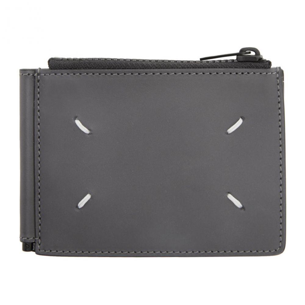 メゾン マルジェラ Maison Margiela メンズ 財布 二つ折り【Grey Leather Clip Bifold Wallet】Dark black grey