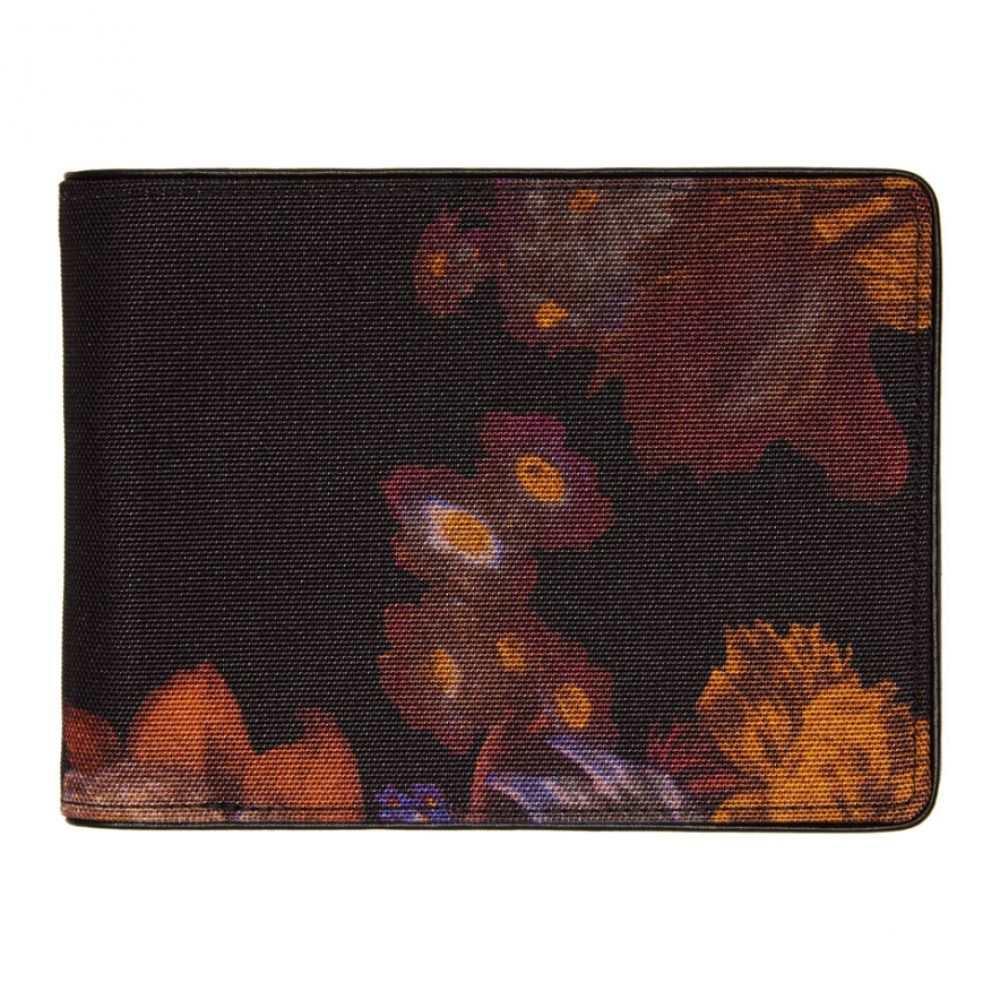 ドリス ヴァン ノッテン Dries Van Noten メンズ 財布 二つ折り【Black & Multicolor Flower Bifold Wallet】Bor