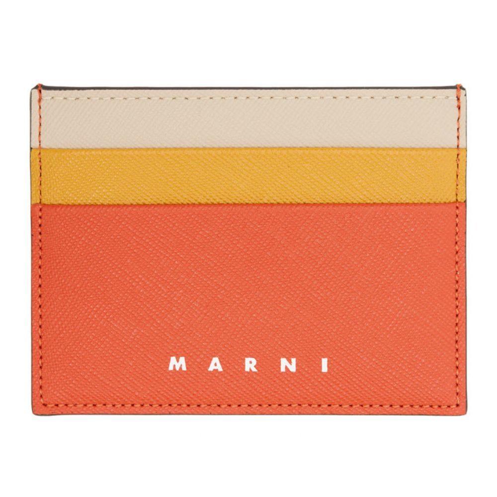 マルニ Marni メンズ カードケース・名刺入れ カードホルダー【Red & Orange Colorblock Card Holder】Pumpkin
