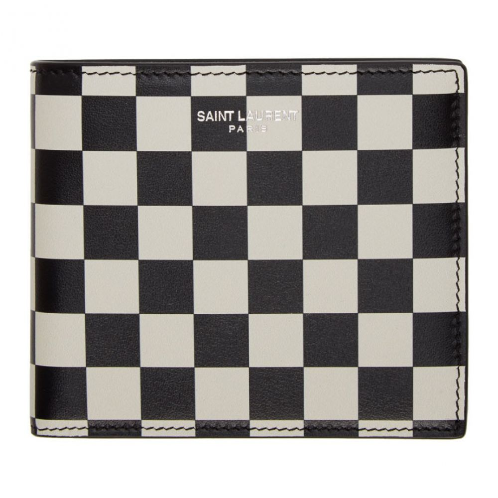 イヴ サンローラン Saint Laurent メンズ 財布 【Black & Off-White Checkered East/West Wallet】Black/Off-white