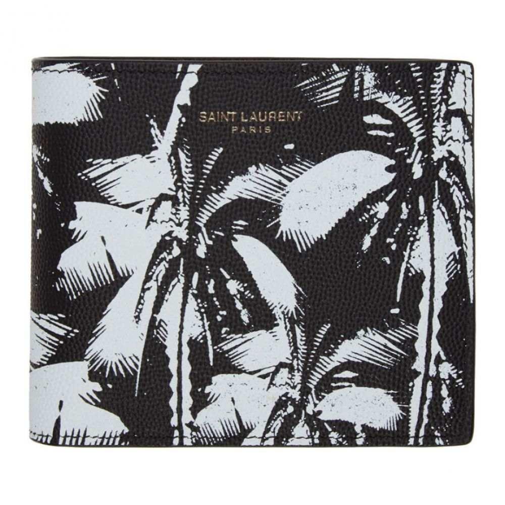 イヴ サンローラン Saint Laurent メンズ 財布 【Black & White Palm Tree East/West Wallet】Nero/White