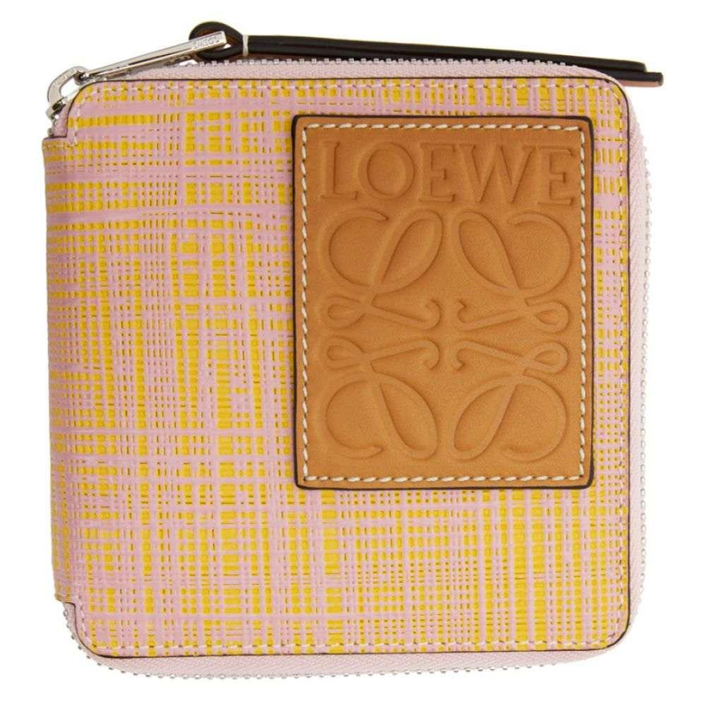 ロエベ Loewe メンズ 財布 【Pink & Yellow Square Zip Wallet】Yellow/Pink