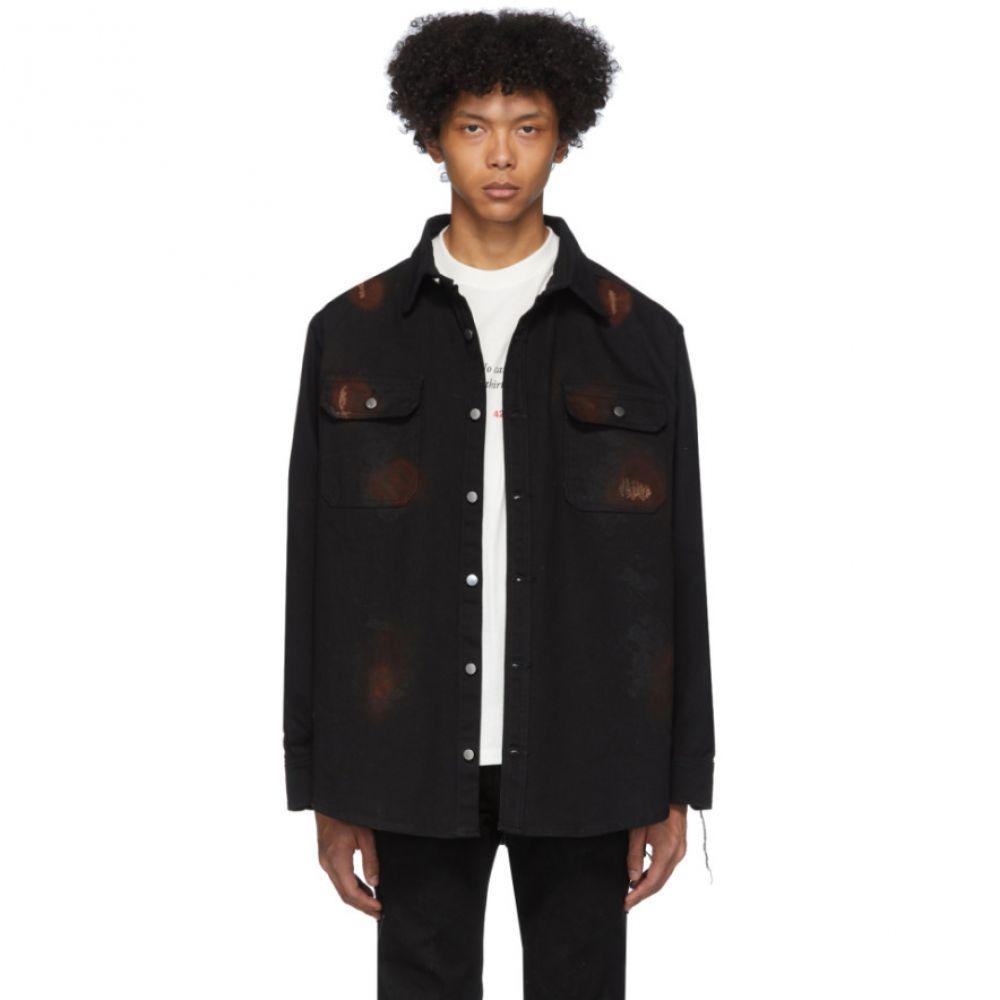 フォートゥーフォー 424 メンズ ジャケット アウター【Black Distressed Workwear Jacket】Black