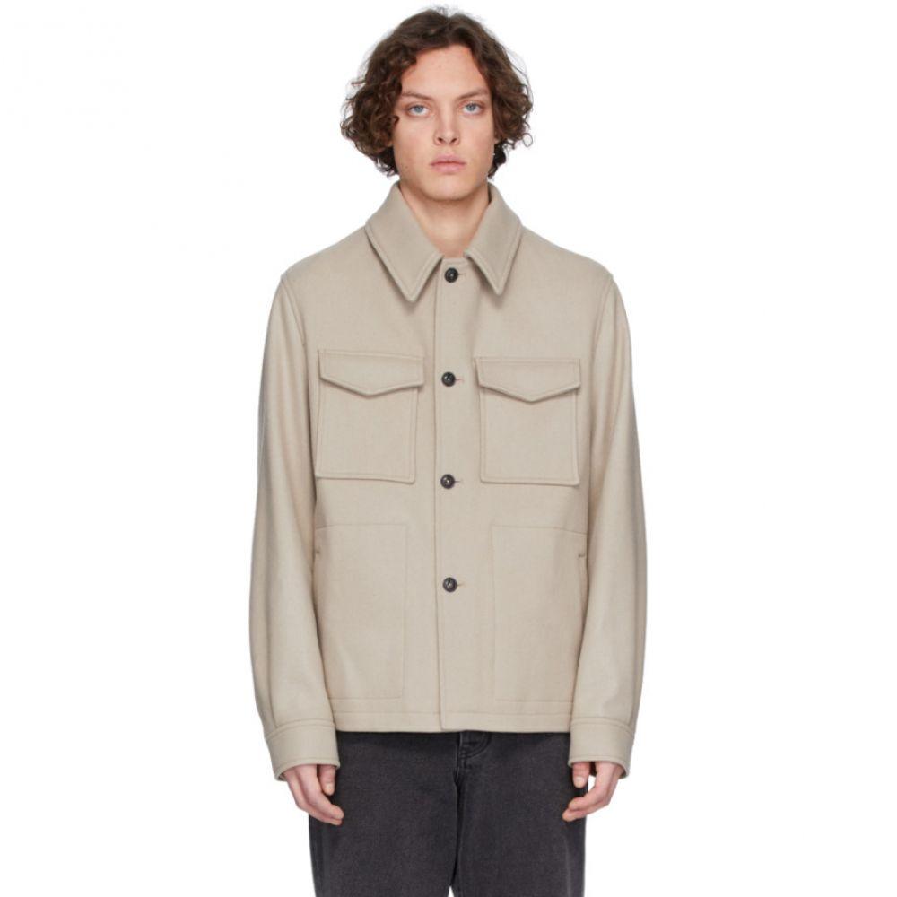 アミアレクサンドルマテュッシ AMI Alexandre Mattiussi メンズ ジャケット シャツジャケット アウター【Off-White Wool Buttoned Shirt Jacket】Mastic