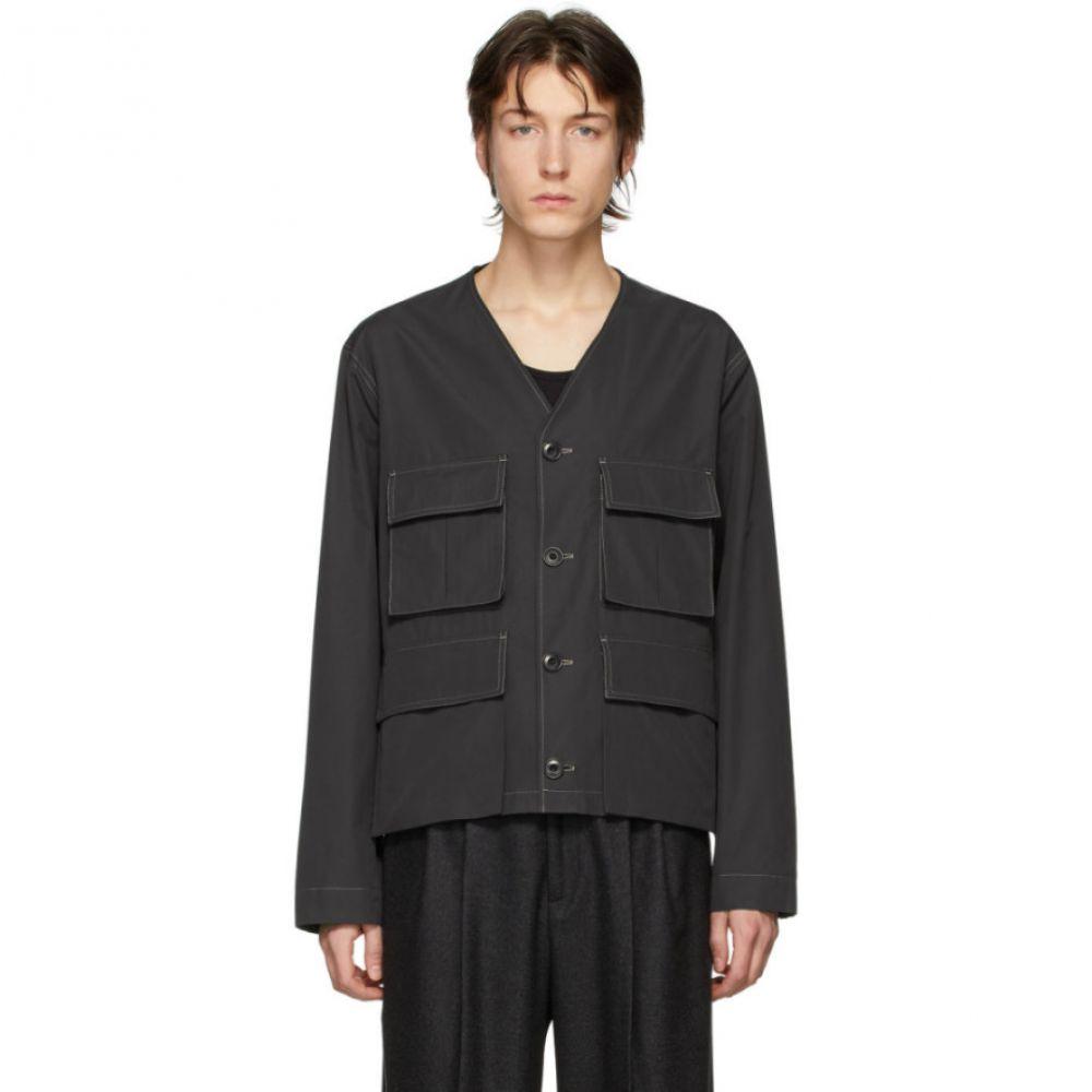 ルメール Lemaire メンズ ジャケット Vネック アウター【Black Poplin V-Neck Jacket】Carbon