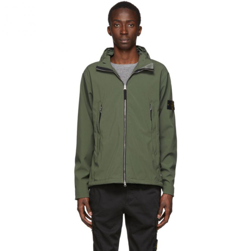 ストーンアイランド Stone Island メンズ ジャケット フード ソフトシェルジャケット アウター【Khaki Soft Shell Hooded Jacket】Olive