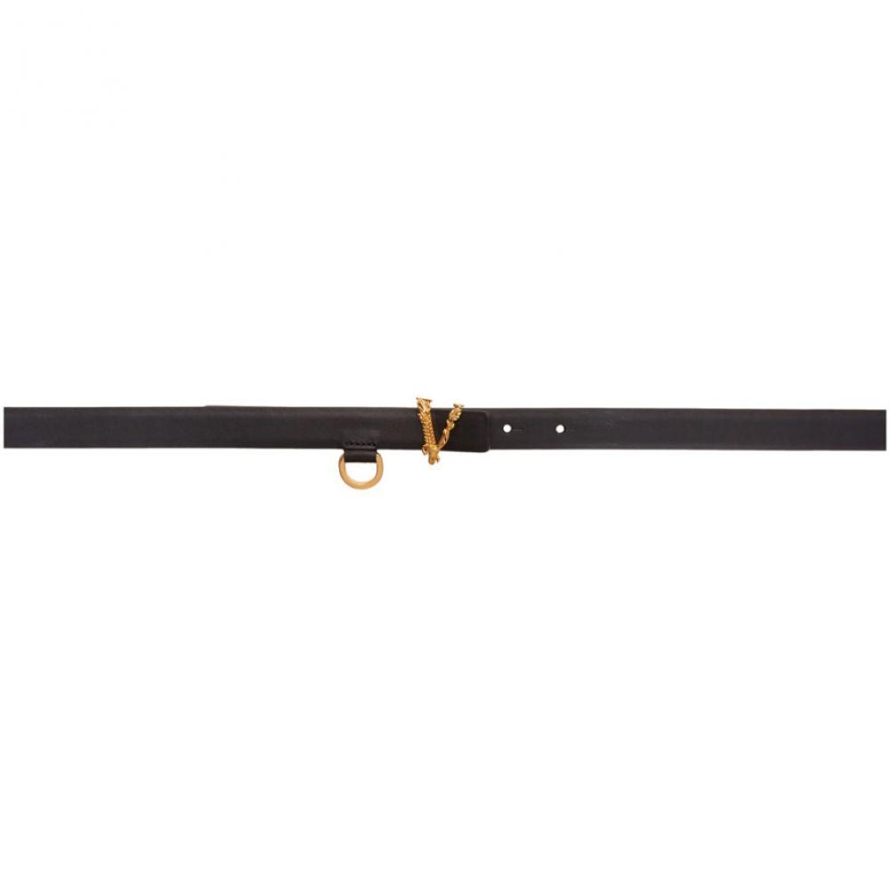 ヴェルサーチ Versace レディース ベルト 【Black Thin Virtus Waist Belt】Black