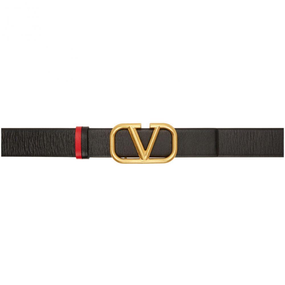 ヴァレンティノ Valentino レディース ベルト 【Black & Red Garavani VLogo Belt】Black
