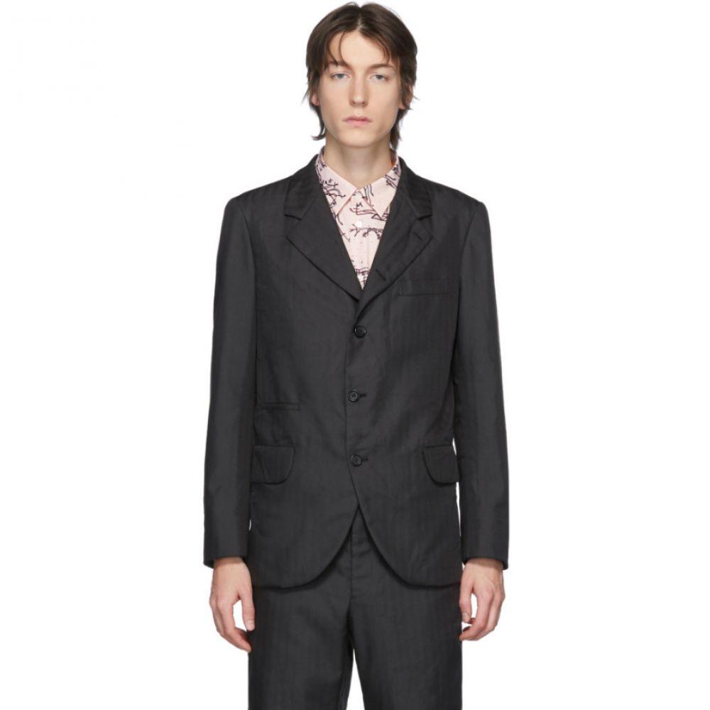 コム デ ギャルソン Comme des Garcons Homme Deux メンズ スーツ・ジャケット アウター【Black Textured Herringbone Blazer】Black
