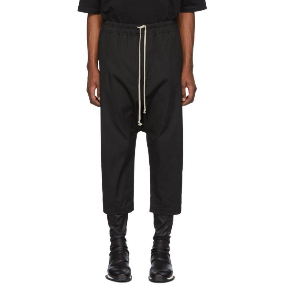 リック オウエンス Rick Owens メンズ クロップド ボトムス・パンツ【Black Drawstring Cropped Trousers】Black