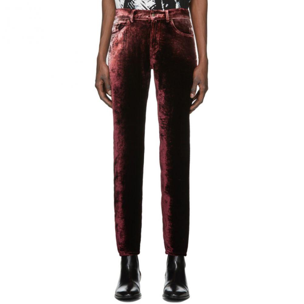 イヴ サンローラン Saint Laurent メンズ ボトムス・パンツ 【Burgundy Velvet Trousers】Burgundy