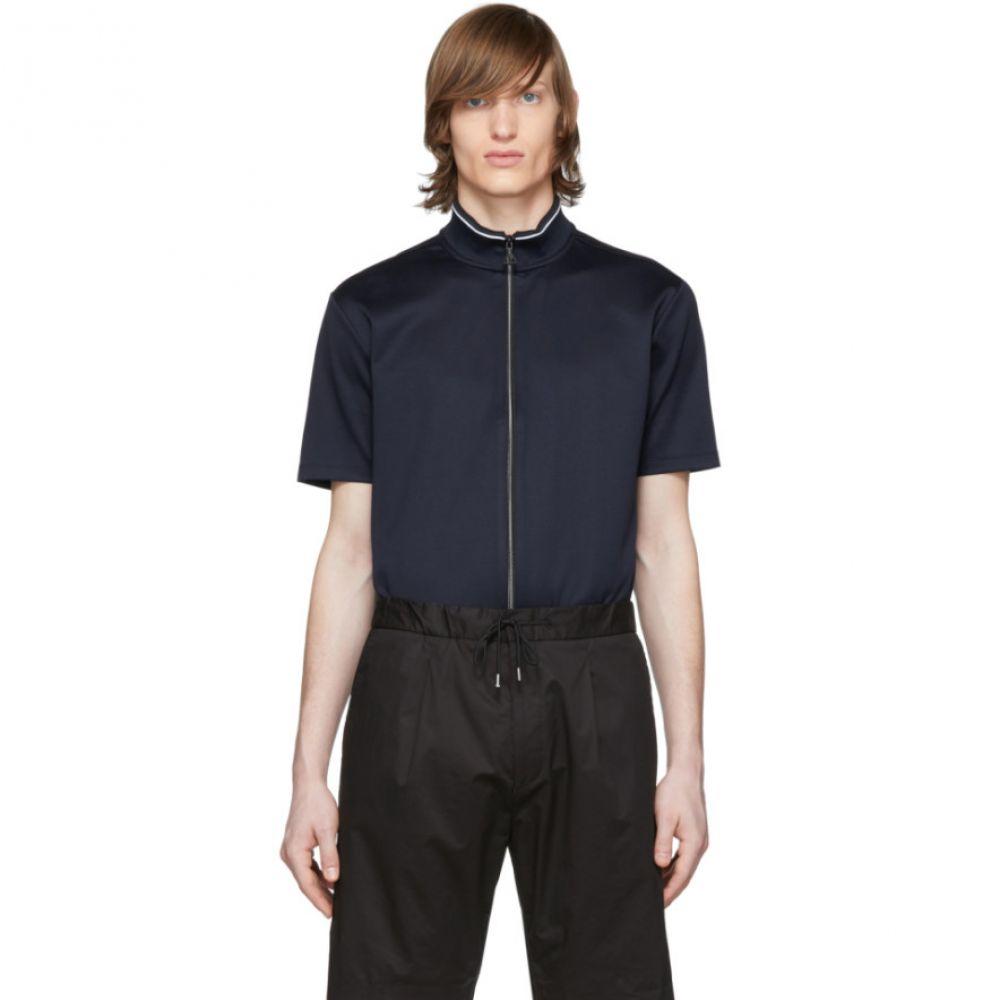 ヒューゴ ボス Hugo メンズ ポロシャツ トップス【Navy Jersey Dascination Zip Polo】Dark blue