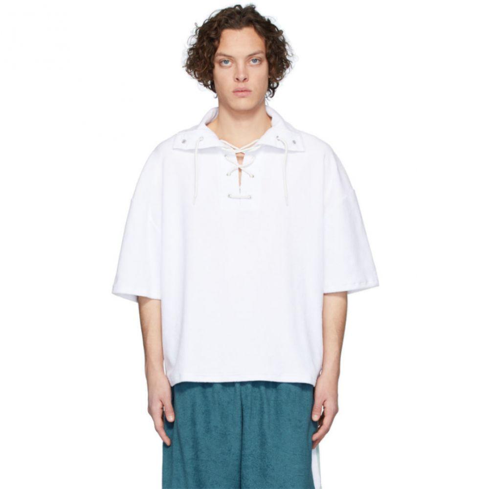 マーティン アスビヨルン Martin Asbjorn メンズ ポロシャツ レースアップ トップス【White Ripley Lace-Up Polo】White
