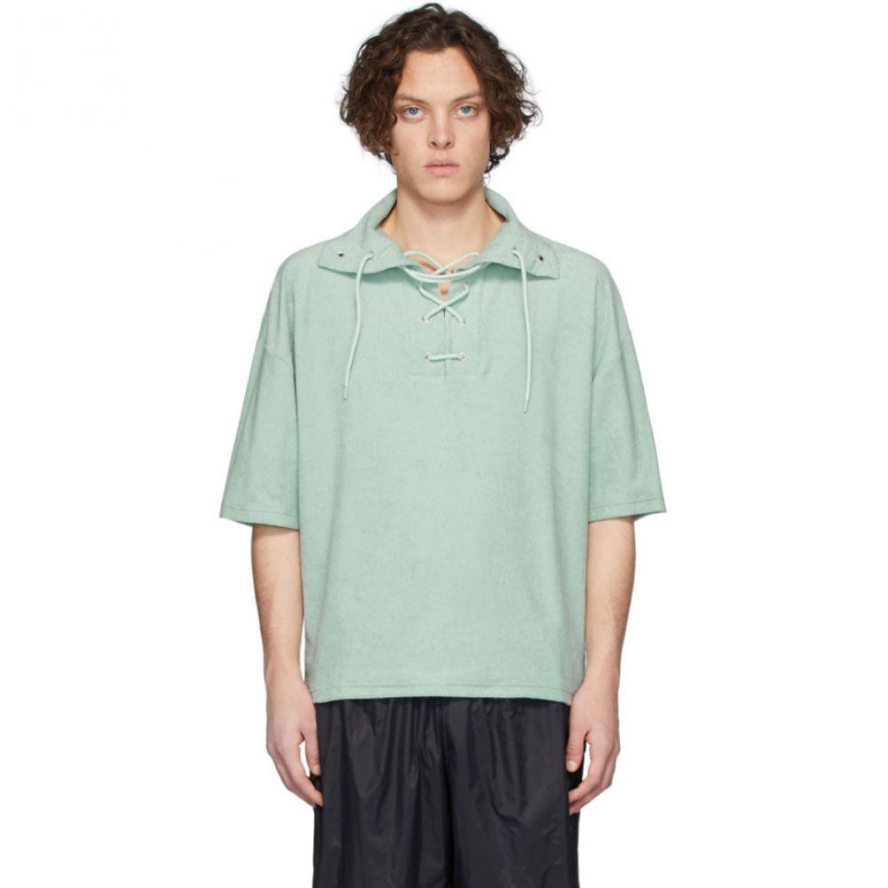 マーティン アスビヨルン Martin Asbjorn メンズ ポロシャツ レースアップ トップス【Green Ripley Lace-Up Polo】Mint