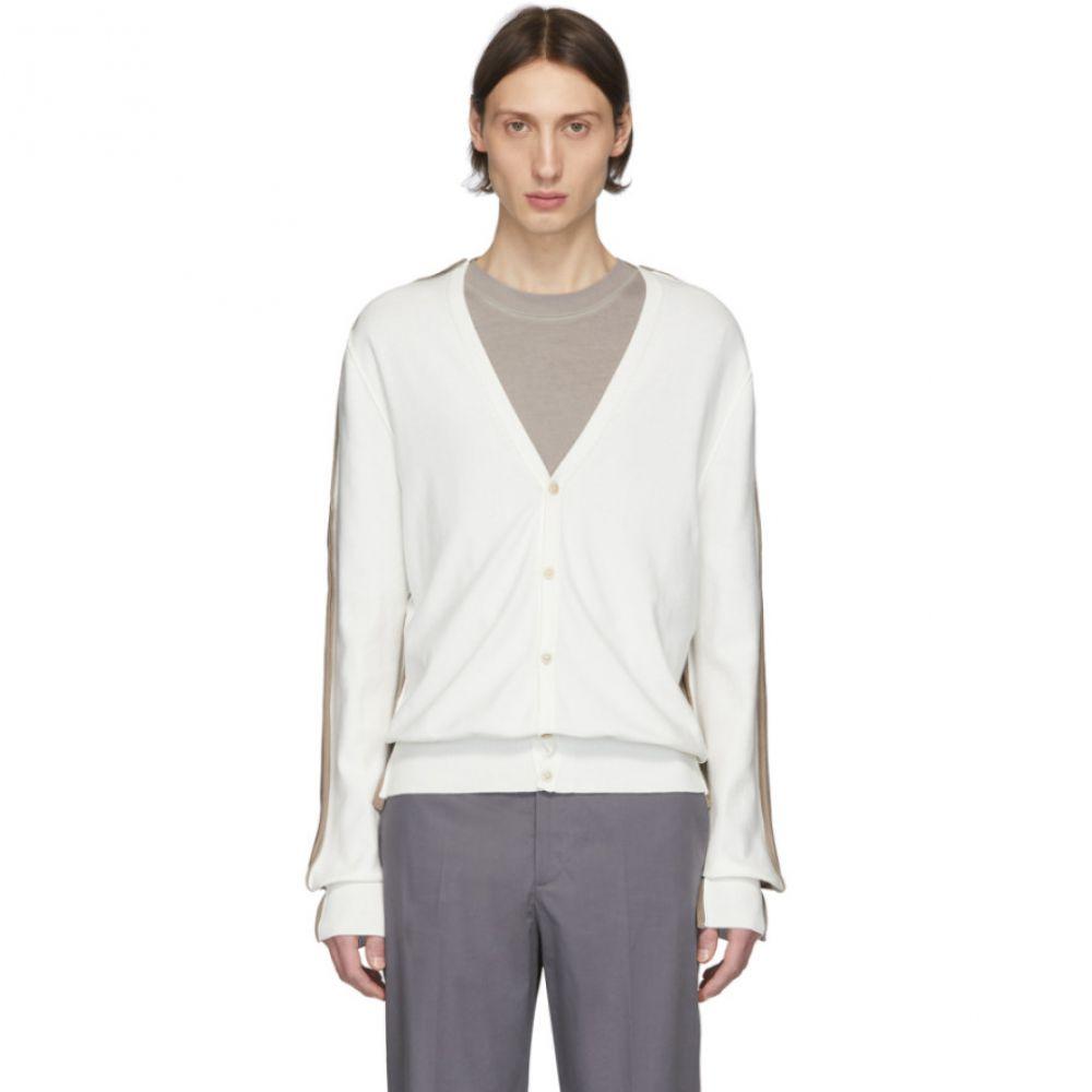 メゾン マルジェラ Maison Margiela メンズ カーディガン トップス【Off-white & Brown Knit Cardigan】Off-white