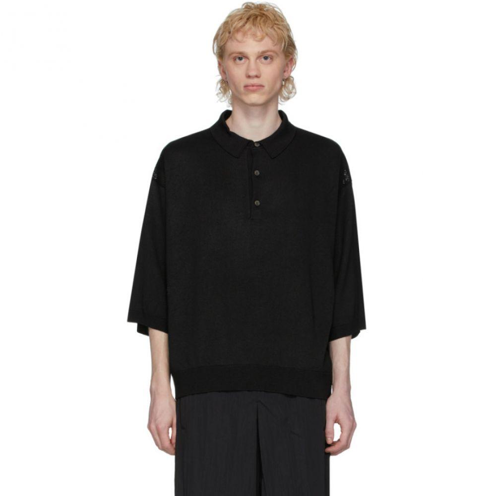 フミト ガンリュウ Fumito Ganryu メンズ ポロシャツ トップス【Black Sweater Polo】Black