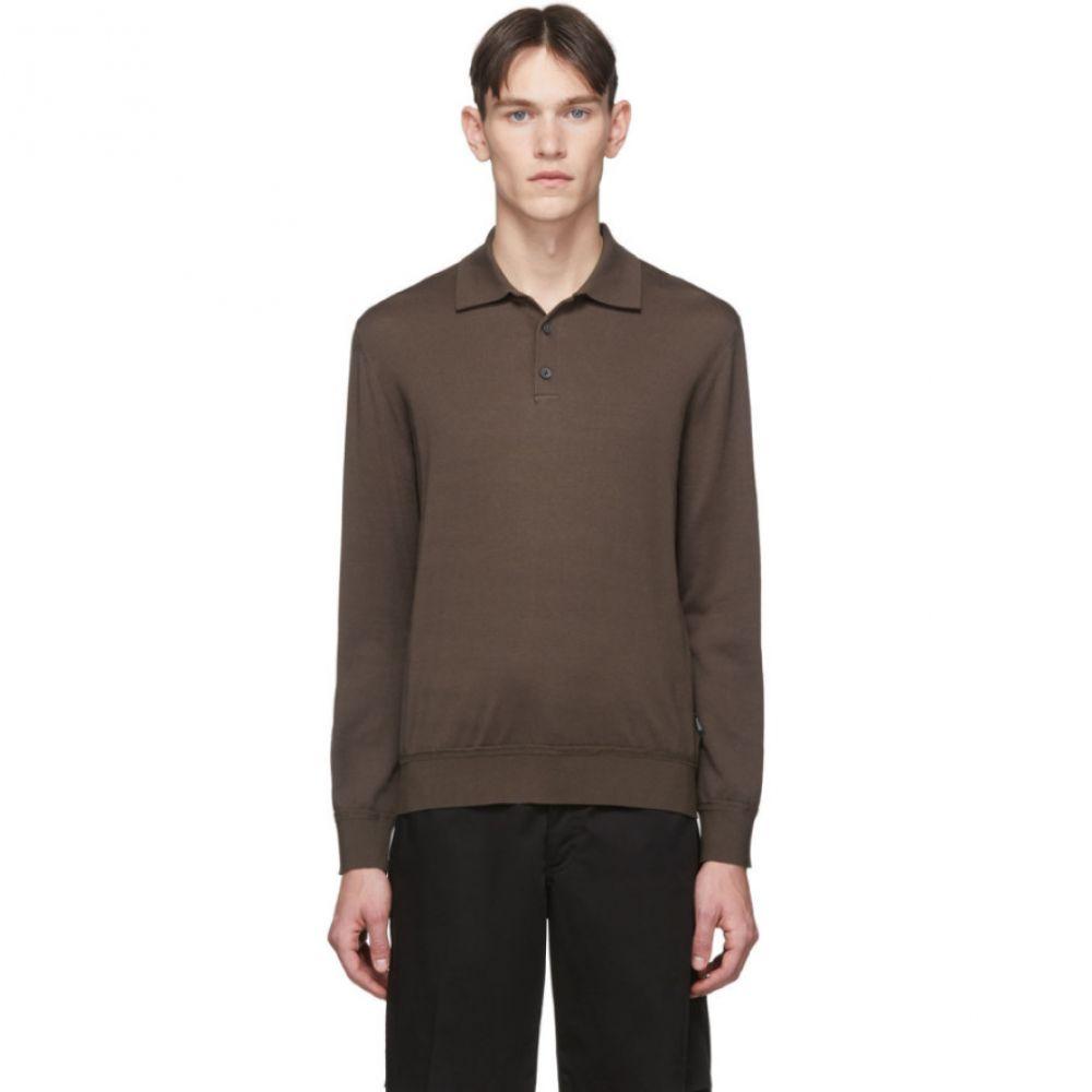 ジーゼニア Z Zegna メンズ ポロシャツ トップス【Taupe Knit Long Sleeve Polo】Taupe
