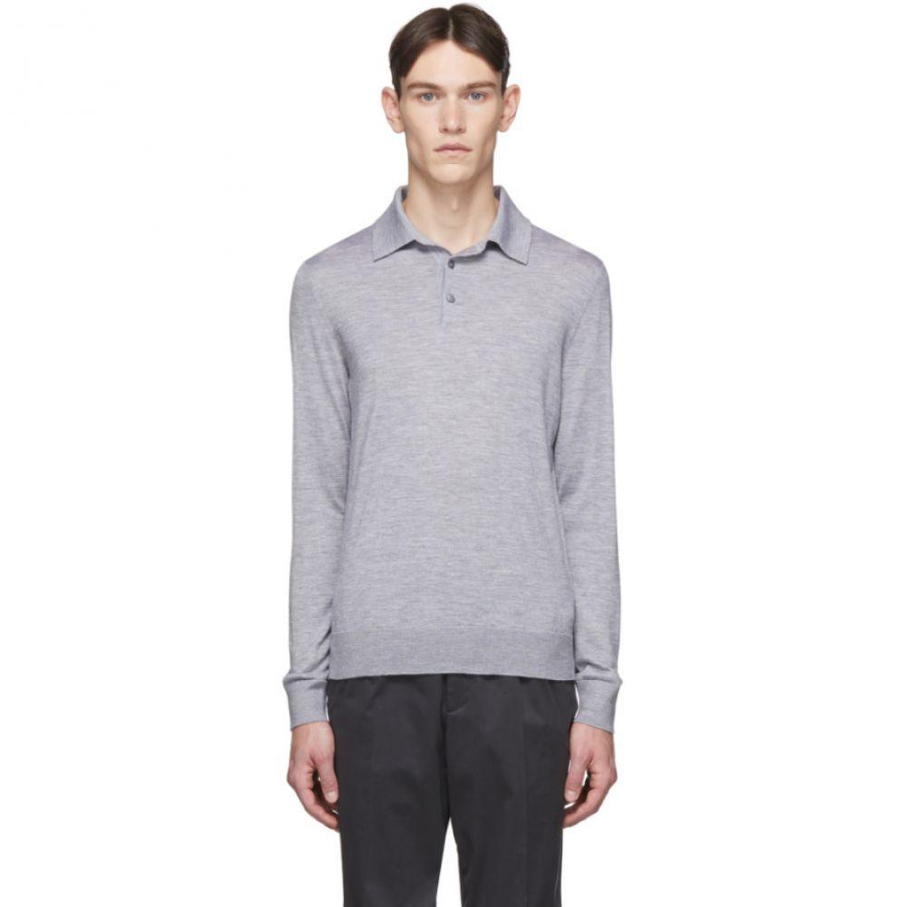 エルメネジルド ゼニア Ermenegildo Zegna メンズ ポロシャツ トップス【Grey Cashmere Long Sleeve Polo】Grey