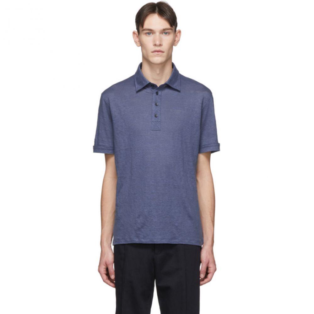 エルメネジルド ゼニア Ermenegildo Zegna メンズ ポロシャツ トップス【Blue Linen Polo】Blue