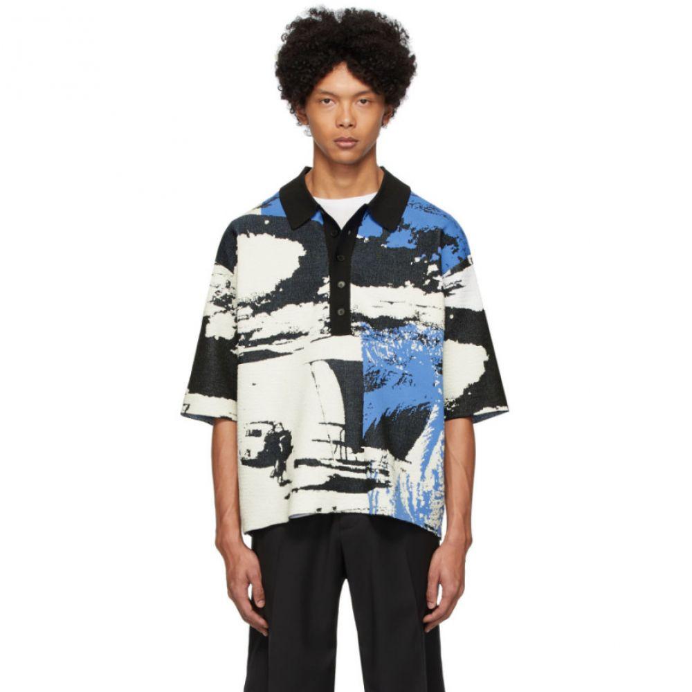 スリーワン フィリップ リム 3.1 Phillip Lim メンズ ポロシャツ トップス【Black & Blue Jacquard Postcard Polo】Black/Blue/White
