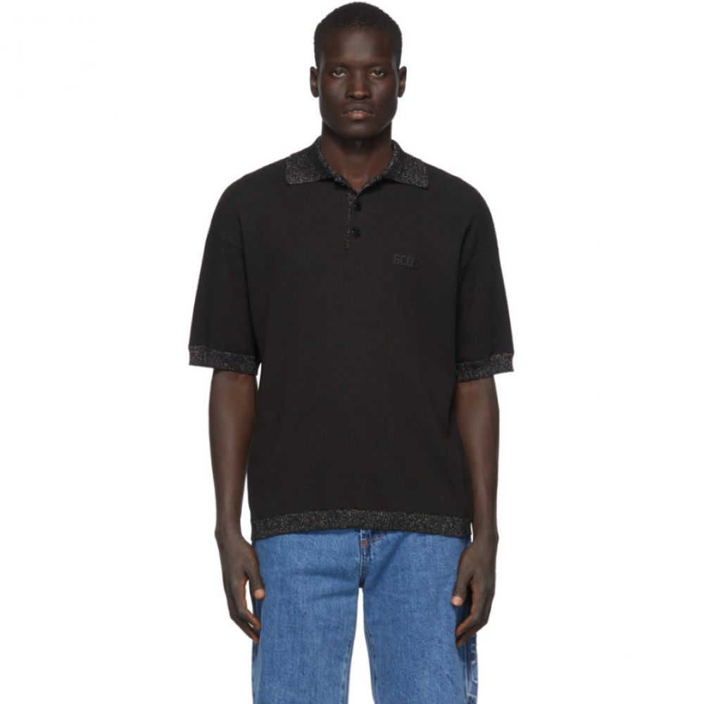 ジーシーディーエス GCDS メンズ ポロシャツ トップス【Black Waffle Knit Polo】Black