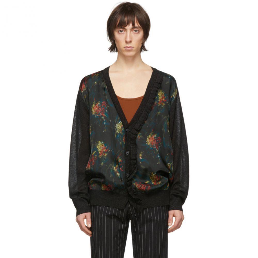 ドリス ヴァン ノッテン Dries Van Noten メンズ カーディガン トップス【Black & Multicolor Floral Ruffle Cardigan】Black